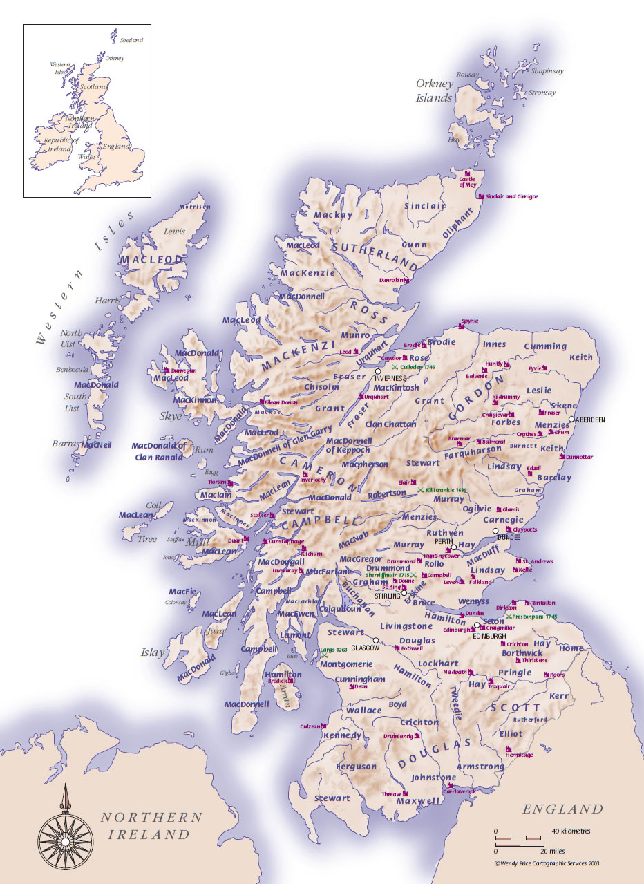 Scottish Clans and Castles - Clan Land Map